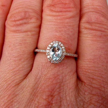 Engagement Ring Aquamarine in 14k Rose Gold Diamond Halo March Birthstone Gemstone Jewelry
