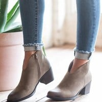 Just Vibing Heeled Booties, Taupe