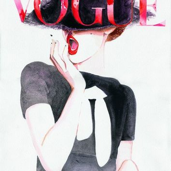 Print of Watercolor Painting, Vogue Cover Fashion Print 8.5  x 11 Titled: German Vogue