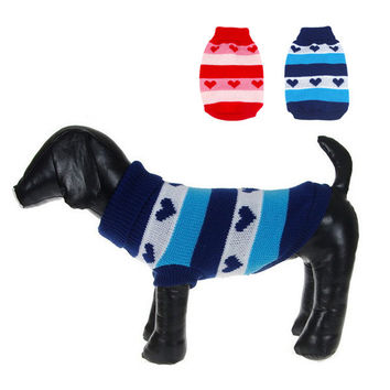 Dog Cat Heart Stripes Warm Sweater Knit Coat Outwear Apparel Pet Dog Clothes Best
