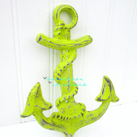 20% OFF Cast Iron Anchor Wall Hook Lime Green- Anchor Decor, Nautical Decor, Nautical Bathroom, Beach Decor, Coastal Decor