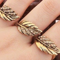 Fashion Rhinestone 3 Leaves Ring JZ0010