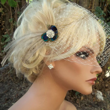 Bridal Fascinator Hair Clip Ivory Peacock, french net bandeau veil, natural Peacock, Emu Feathered Wedding head piece