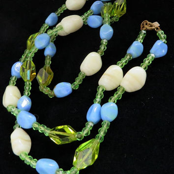 Hattie Carnegie Necklace Vintage Glass Bead Necklace, Signed Carnegie Necklace Blue, Green, Cream Art Glass Necklace, 29 inches
