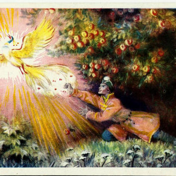 Tale of Prince Ivan, Firebird, Vintage  Russian Postcard,Fire Gold Bird 1957