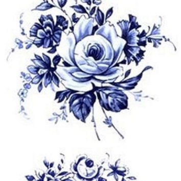 "TEMPORARY TATTOO - 4.5"" x 3.25"" Floral vintage Dutch 'Delfts Blauw' temporary tattoo"