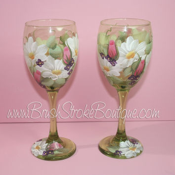 Hand Painted Wine Glass - Daisy Garden - Original Designs by Cathy Kraemer