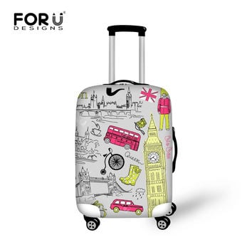 British Style Print Travel Luggage Cover Suitcase Trolley Case Protective Covers Stretch Apply to 18 to 32 Inch Elastic Suitcase