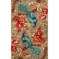 KAS Oriental Rugs CAT073226X8RU Catalina Sage Peacock Flora Runner: 2 Ft. 6 In. x 8 Ft.  Rug - (In Runner)