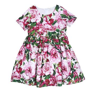 Baby Girls Floral Dress Children Short Sleeve Flower Printing Princess Dresses for Birthday Party Costume