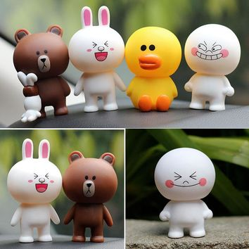 7cm PVC Line Brown Bear Cony Rabbit Moon Friends Action Figure Cute Decoration And Toys For Kids