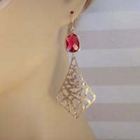 Lovely Ruby Gemstone and Gold Plated pendant EArrings-gold earrings,bridal earrings, gemstone jewelry