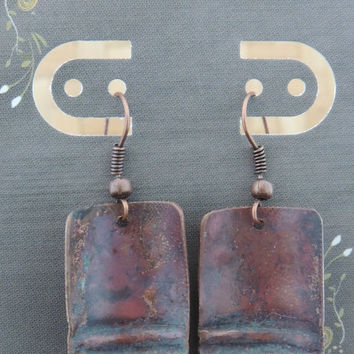 Copper Fold Formed Earrings with Torch Fired Patina