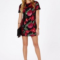Missguided - Giraja Sequin Rose Embellished Shift Dress