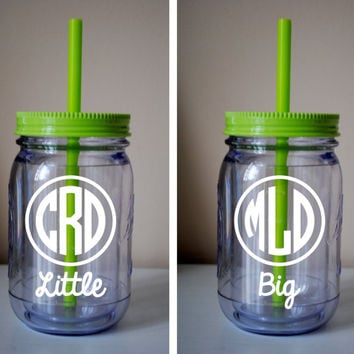 SET of 3 Big / Little / Little Monogram Mason Jar Cup With Straw / Available In Many Colors