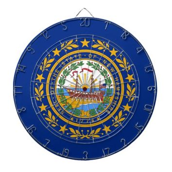Dartboard with Flag of New Hampshire, USA