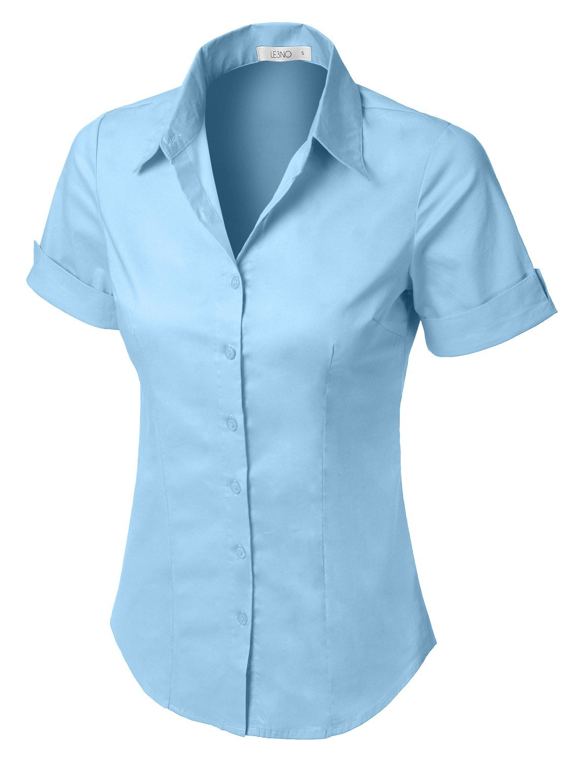 47d727684790 LE3NO Womens Short Sleeve Button Down Shirt with Stretch