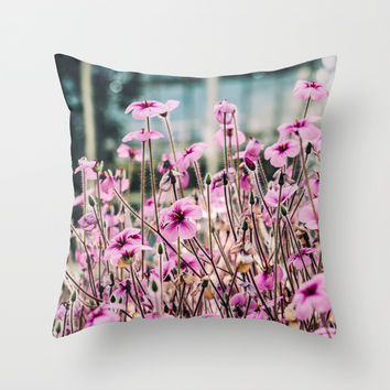 Purple Flowers Blooming Throw Pillow by Pati Designs