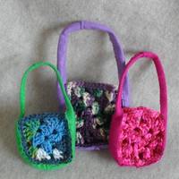 Small Crochet Felt Gift Bags, Gift Pouch for candies, teas, coffees, jewelries or soaps+ (choose 1)