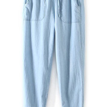 Blue Drawstring Waist Pockets Denim Pants