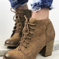 Stevo Cognac Lace Up Bootie