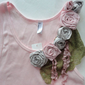 Pink Tank Top, Size XL, American Apparel, Decorated