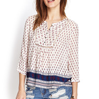FOREVER 21 Bordered Paisley Peasant Top