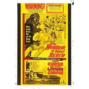 Horror Of Party Beach Movie poster Metal Sign Wall Art 8in x 12in