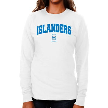 Texas A&M Corpus Christi Islanders Ladies Logo Arch Long Sleeve Slim Fit T-Shirt - White