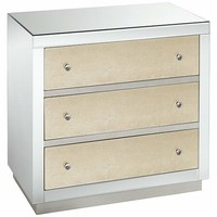 Harrister 3-Drawer Mirrored Champagne Leaf Accent Chest - #EU9C054 - Euro Style Lighting