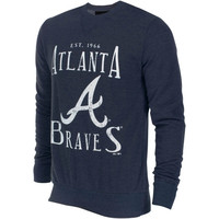 Atlanta Braves Majestic Threads Established Tri-Blend Sweatshirt - Navy Blue