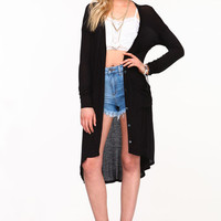 JERSEY KNIT LONG CARDIGAN