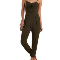Olive Open Back Bow-Front Jumpsuit by Charlotte Russe