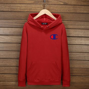 One-nice™ Champion Fashion Classic Print Logo Hooded Sport Top Sweater Sweatshirt Hoodie Red I-YSSA-Z