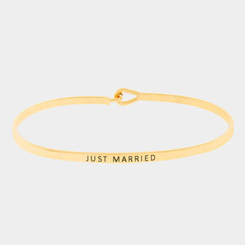 """Just Married"" Skinny Mantra Cuff Bracelet"