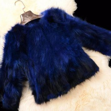 Free shipping 2017 new Genuine raccoon Fur Coat women raccoon Fur Jacket winter thick fur customized big size
