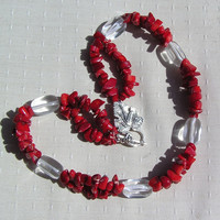 "Crystal Gemstone Statement Necklace - Clear Quartz & Natural Red Coral ""Crimson Glory"""