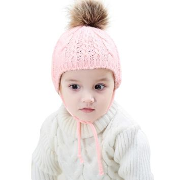NEW Baby Kids Knitted Hat Winter Autumn Warm Faux Fur Pompom Cap Earflap Ear Warmer Beanies Girls Boys Ball Pom Pom Caps Bonnet