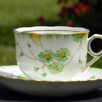TF & S Phoenix China Tea Cup and Saucer, Hand Painted Bone China Teacup Made in England  J-1552