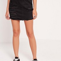 Missguided - Mini Denim Ripped Skirt Black