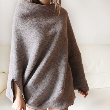 Wool sweater, women sweater, wool sweater poncho, rosy brown 100% knitted cape, sweater tunic,italian wool poncho