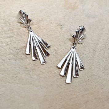 Vintage 1980s Abstract + Silver Dangle Earrings