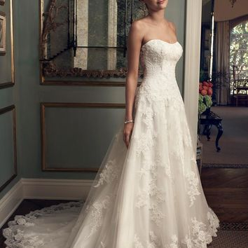 Casablanca Bridal 2222 Strapless Drop Waist Lace A-Line Wedding Dress