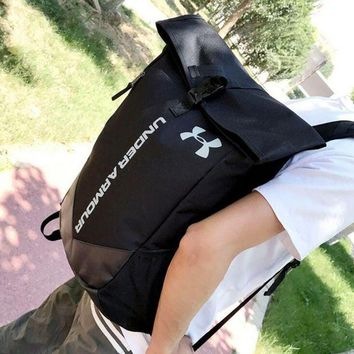 Under Armour black Fitness equipment outdoor backpack sports bag travel bag leisure student bag