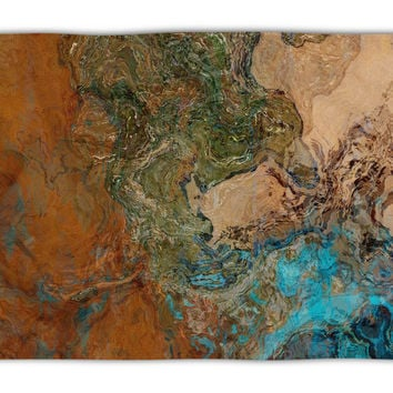Abstract Art plush fleece throw, 50x60 and 60x80, coral fleece blanket in turquoise and copper, Canyon Sunset