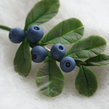 Blueberry brooch - rustic brooch - rustic jewelry - eco friendly jewelry - woodland brooch - eco fashion - clay brooch