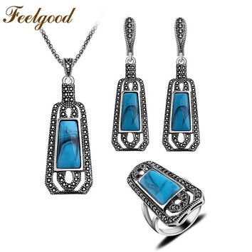 Feelgood Jewellery Blue Resin And Black Crystal Long Pendant Necklace Sets Vintage Silver Color Turkish Jewelry Sets For Women