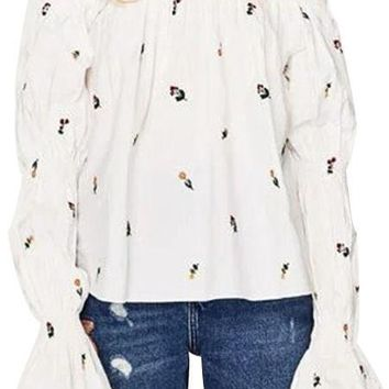 Pretty Flower Peasant Top