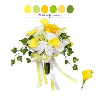 2pc - White, Green, and Yellow Bouquet and Boutonneire - Real Touch Calla Lily Rose with Greenery