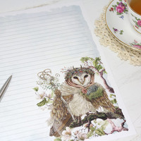 Owl Stationery Paper- Stationery Paper Set- Stationery Set- Writing Paper- Lined Paper - Woodland Paper -Letter Writing Set - Stationary Art